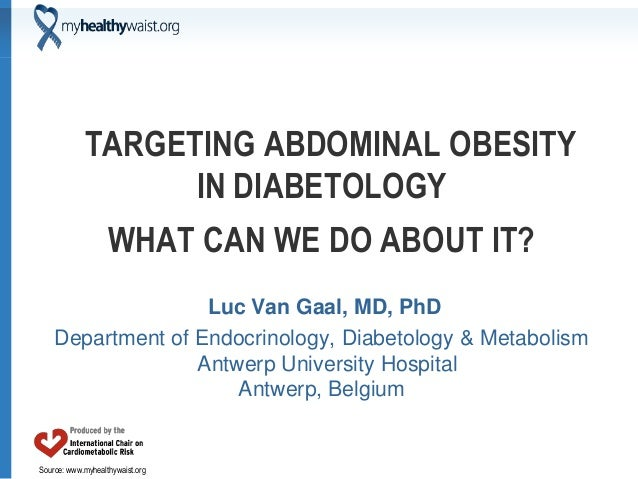 Source: www.myhealthywaist.org TARGETING ABDOMINAL OBESITY IN DIABETOLOGY WHAT CAN WE DO ABOUT IT? Luc Van Gaal, MD, PhD D...