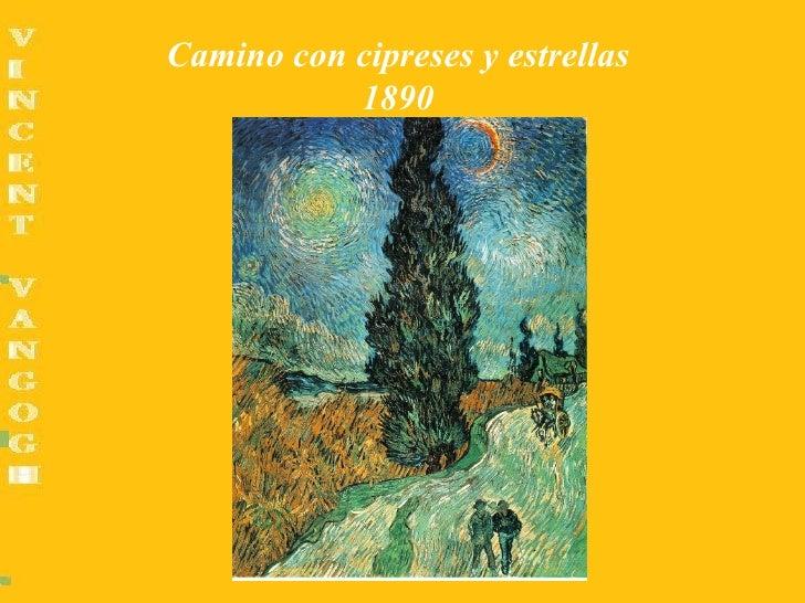 Camino con cipreses y estrellas           1890