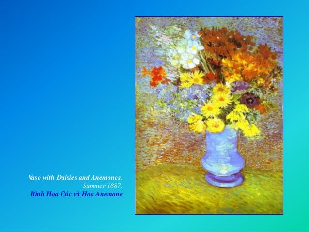 Vase with Daisies and Anemones. Summer 1887. Bình Hoa Cúc và Hoa Anemone