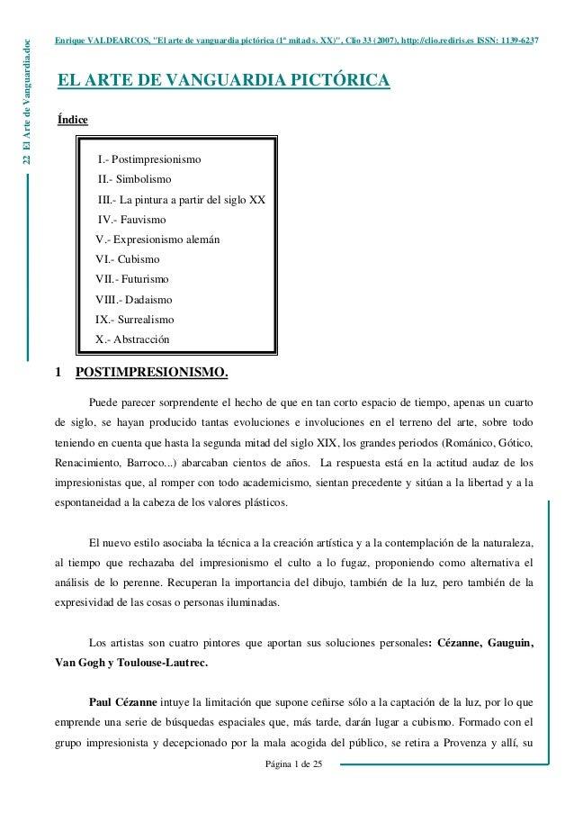 """Enrique VALDEARCOS, """"El arte de vanguardia pictórica (1ª mitad s. XX)"""", Clio 33 (2007), http://clio.rediris.es ISSN: 1139-..."""