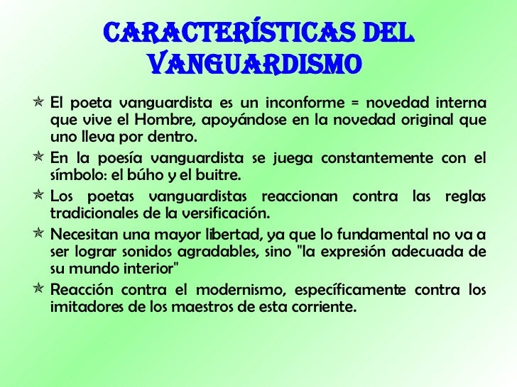 Vanguardias for Caracteristicas del vanguardismo
