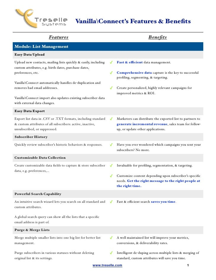VanillaConnect's Features & Benefits                                                                      Features        ...