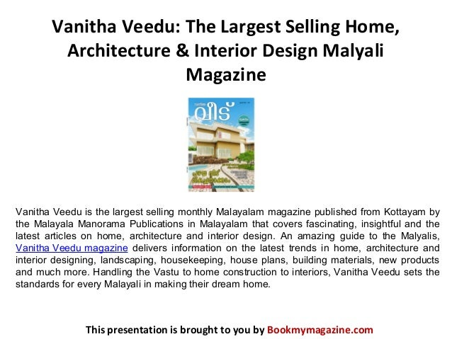 Vanitha veedu the largest selling home architecture for Selling home interior products