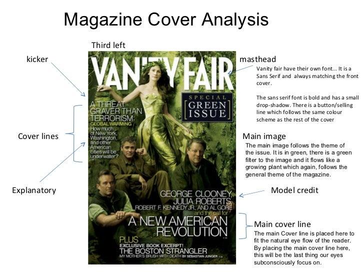 semiotic ad analysis vanity fair cover