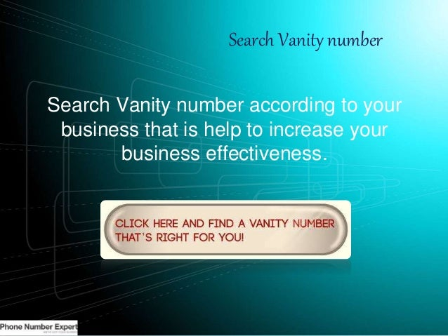 Search Vanity Number Search Vanity Number According To Your Business ...