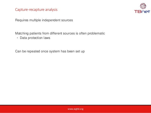 www.aighd.org Capture-recapture analysis Requires multiple independent sources Matching patients from different sources is...