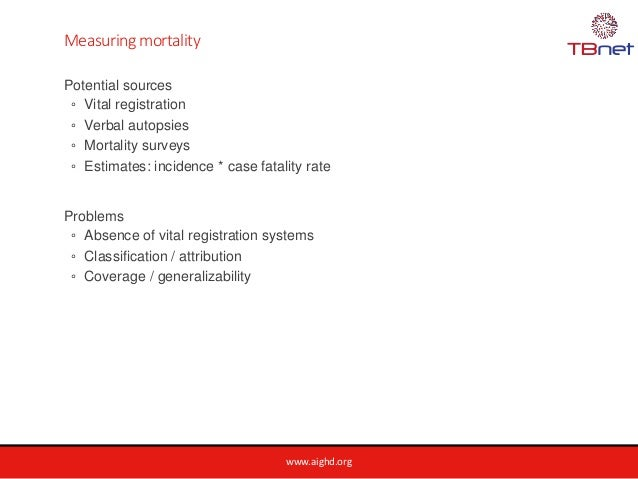 www.aighd.org Measuring mortality Potential sources ◦ Vital registration ◦ Verbal autopsies ◦ Mortality surveys ◦ Estimate...