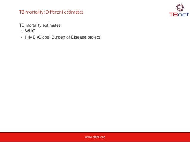 www.aighd.org TB mortality: Different estimates TB mortality estimates ◦ WHO ◦ IHME (Global Burden of Disease project)