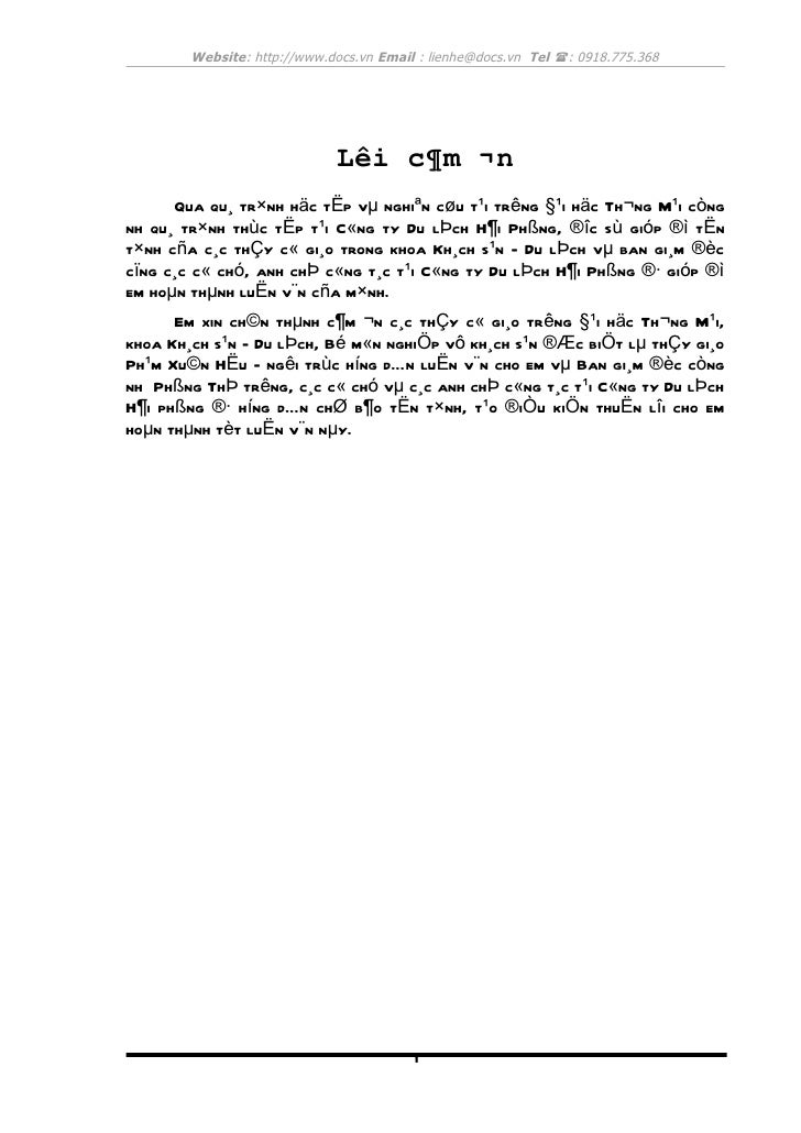 Website: http://www.docs.vn Email : lienhe@docs.vn Tel (: 0918.775.368                             Lêi c¶m ¬n      Qua qu¸...