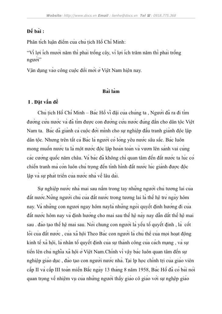 Website: http://www.docs.vn Email : lienhe@docs.vn Tel : 0918.775.368Đề bài :Phân tích luận điểm của chủ tịch Hồ...
