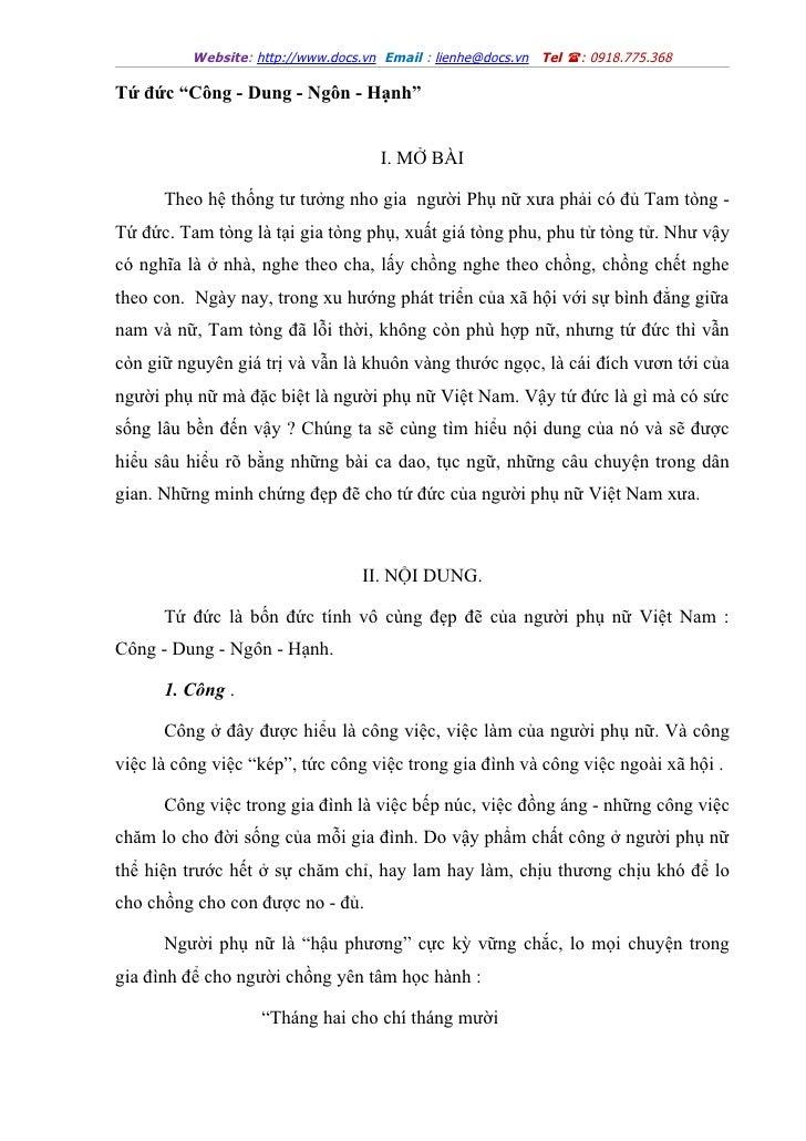 """Website: http://www.docs.vn Email : lienhe@docs.vn Tel : 0918.775.368Tứ đức """"Công - Dung - Ngôn - Hạnh""""                  ..."""