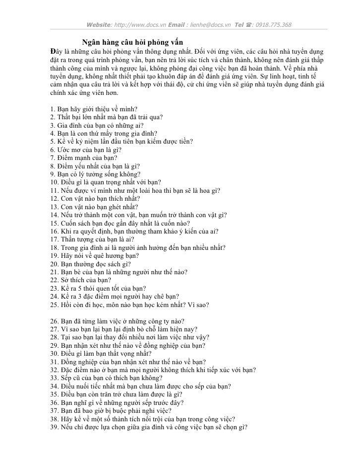 Website: http://www.docs.vn Email : lienhe@docs.vn Tel (: 0918.775.368          Ngân hàng câu hỏi phỏng vấnĐây là những câ...