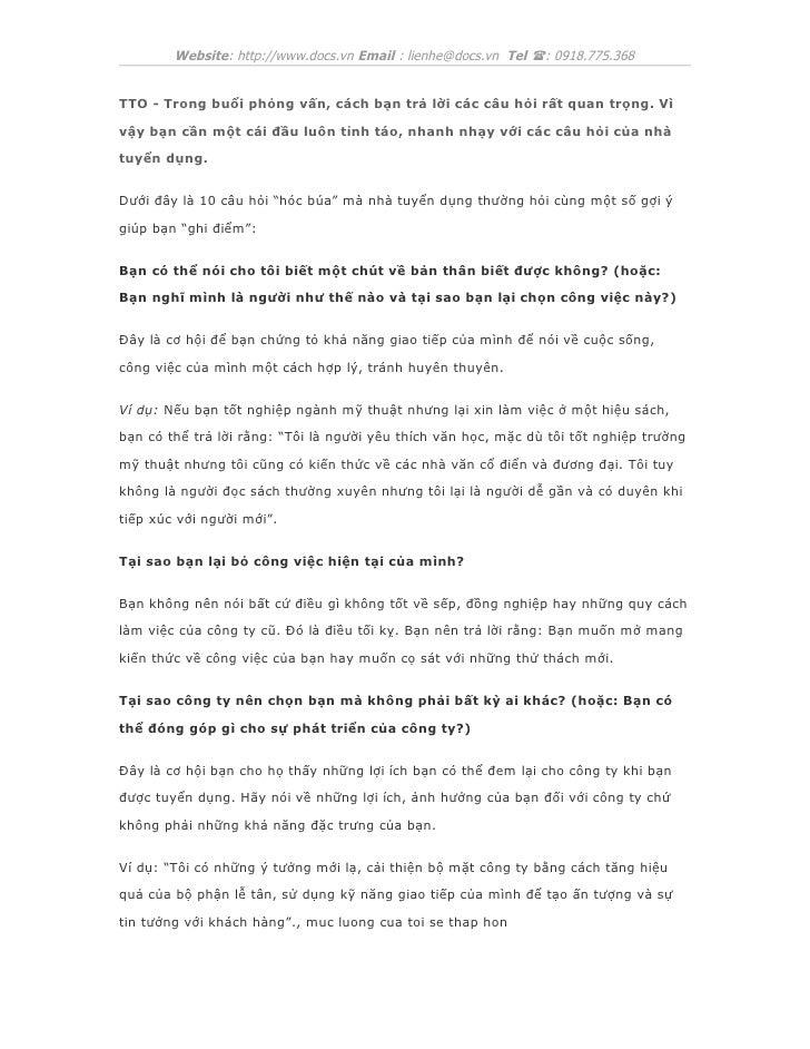 Website: http://www.docs.vn Email : lienhe@docs.vn Tel (: 0918.775.368TTO - Trong buổi phỏng vấn, cách bạn trả lời các câu...