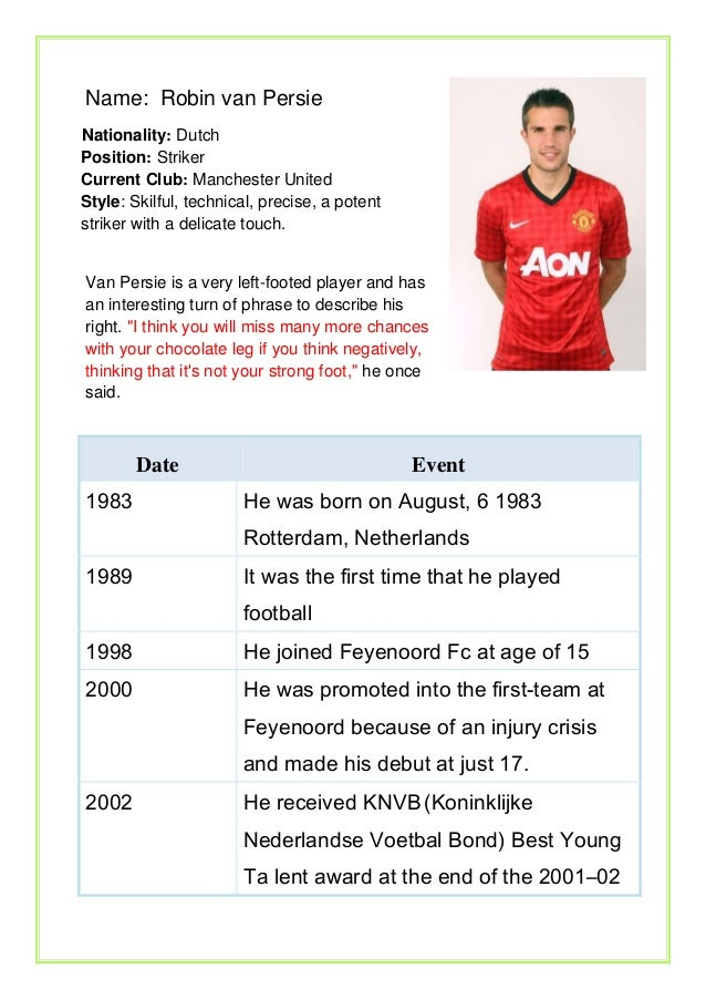Name: Robin van Persie Nationality: Dutch Position: Striker Current Club: Manchester United Style: Skilful, technical, pre...