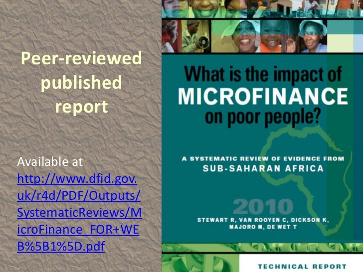 the impact of microfinance in africa essay The effect of credit management on the financial performance of microfinance institutions in kenya  tontines in west africa and pasanaku in bolivia.