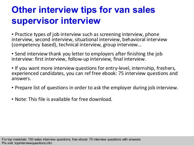 Van sales supervisor interview questions and answers