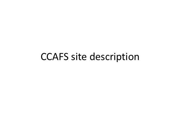 CCAFS site description