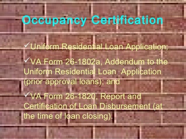 Va Mortgage Occupancy Presentation