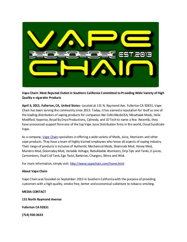 Vape chain most reputed outlet in southern california