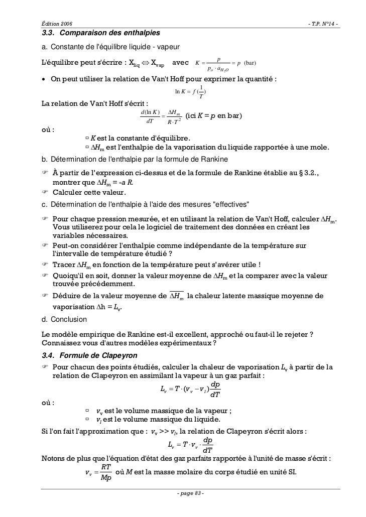 Édition 2006                                                                        - T.P. N°14 -3.3. Comparaison des enth...
