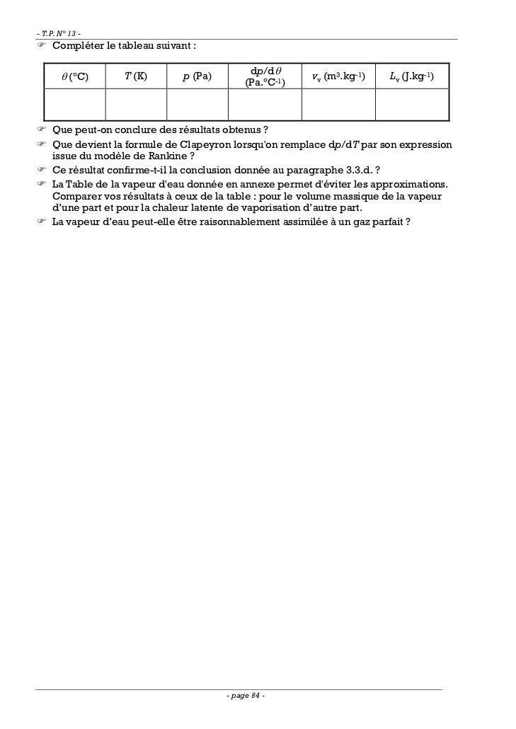 - T.P. N° 13 -    Compléter le tableau suivant :                                              dp/dθ       θ (°C)      T (K...
