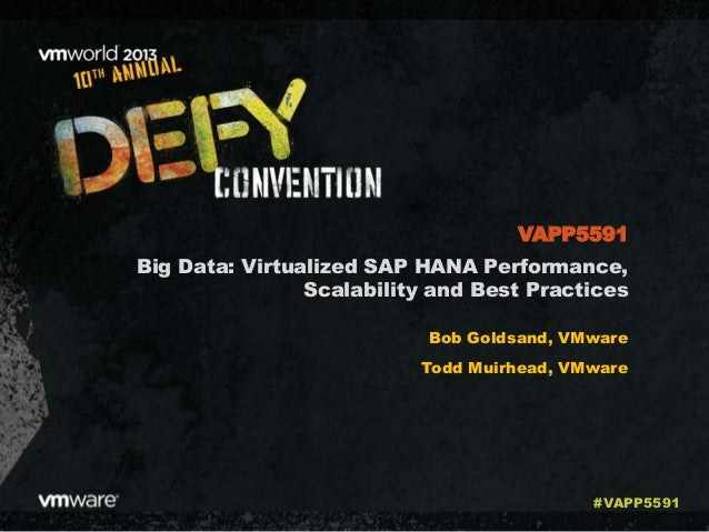 Big Data: Virtualized SAP HANA Performance, Scalability and Best Practices Bob Goldsand, VMware Todd Muirhead, VMware VAPP...