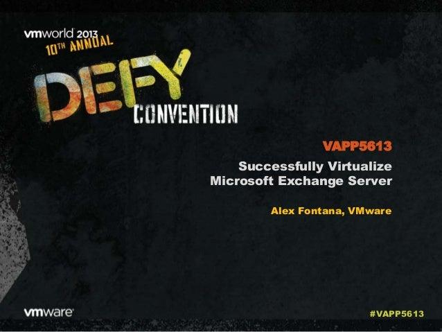 Successfully Virtualize Microsoft Exchange Server Alex Fontana, VMware VAPP5613 #VAPP5613