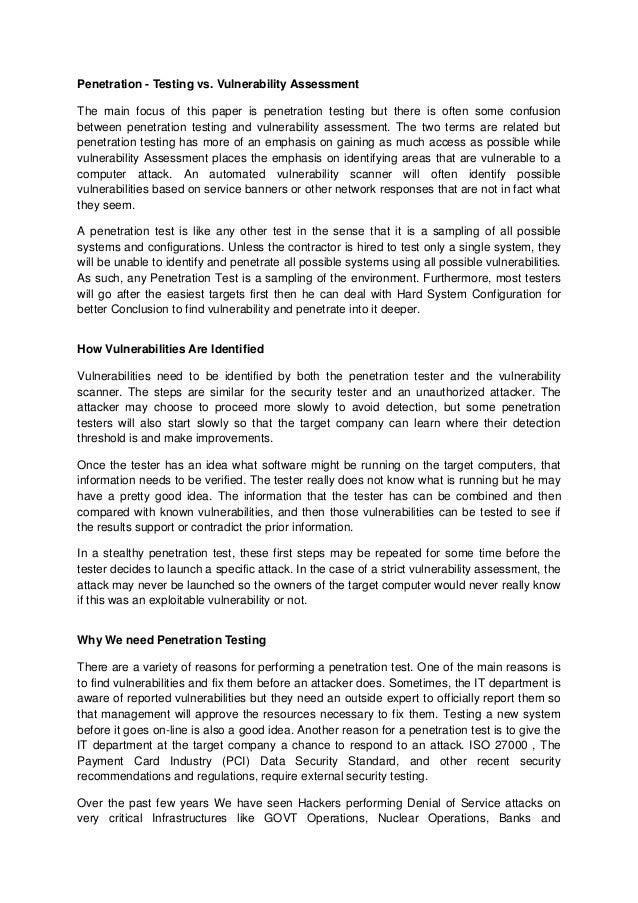Vulnerability scanning essay
