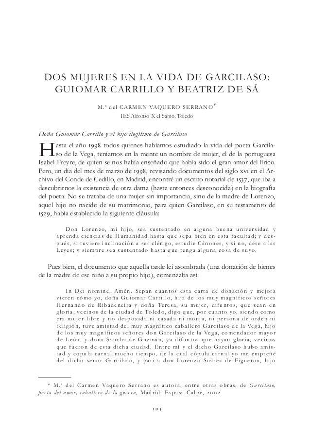  Doña Guiomar Carrillo y el hijo ilegítimo de Garcilaso Hasta el año  todos quienes habíamos estudiado la vida del ...