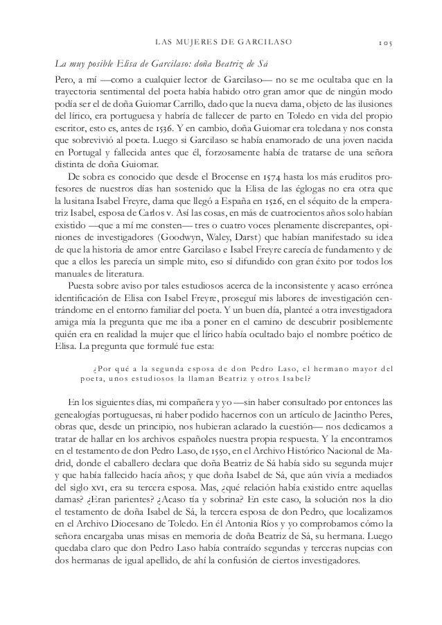LAS MUJERES DE GARCILASO  La muy posible Elisa de Garcilaso: doña Beatriz de Sá Pero, a mí —como a cualquier lector de ...