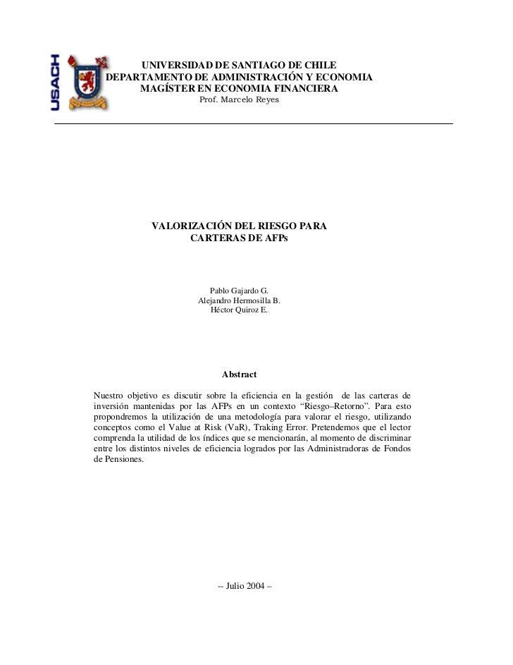 UNIVERSIDAD DE SANTIAGO DE CHILE   DEPARTAMENTO DE ADMINISTRACIÓN Y ECONOMIA        MAGÍSTER EN ECONOMIA FINANCIERA       ...