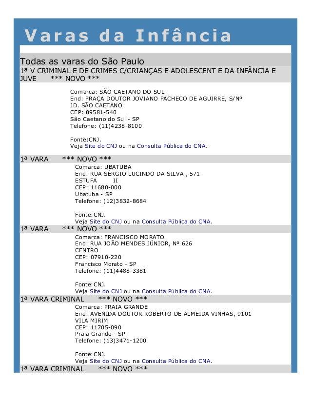 V a r a s d a I n f â n c i aTodas as varas do São Paulo1ª V CRIMINAL E DE CRIMES C/CRIANÇAS E ADOLESCENT E DA INFÂNCIA E...