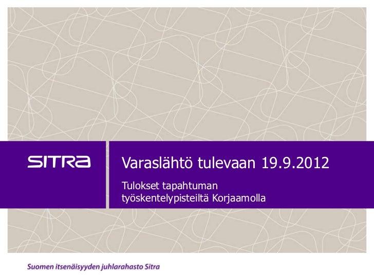 Varaslähtö tulevaan 19.9.2012Tulokset tapahtumantyöskentelypisteiltä Korjaamolla