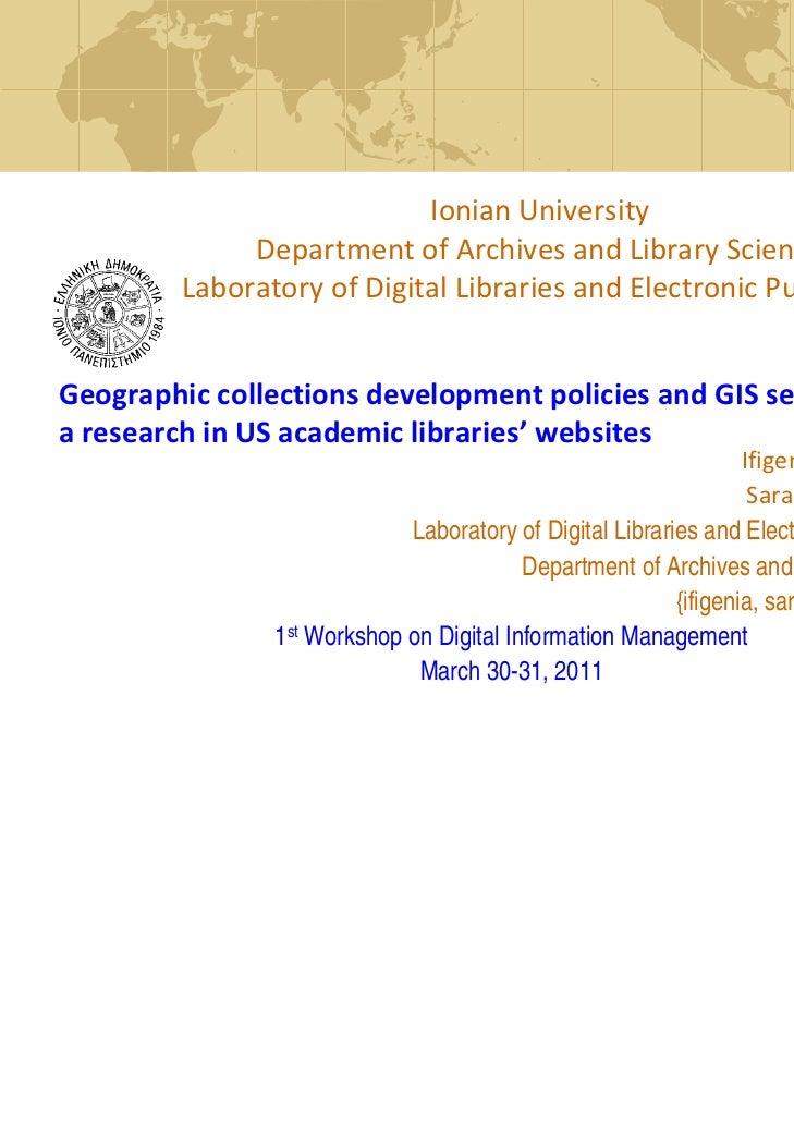 IonianUniversity         LaboratoryofDigitalLibrariesandElectronicPublishing              DepartmentofArchivesan...