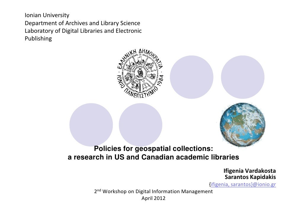 Ionian UniversityDepartment of Archives and Library ScienceLaboratory of Digital Libraries and ElectronicPublishing       ...