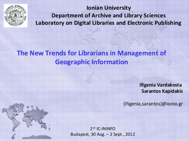 Ionian University          Department of Archive and Library Sciences     Laboratory on Digital Libraries and Electronic P...
