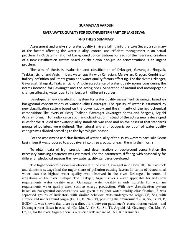phd thesis on water quality