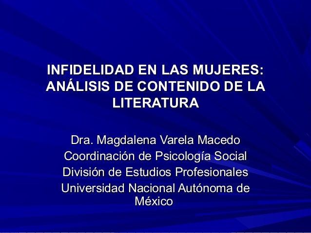INFIDELIDAD EN LAS MUJERES:INFIDELIDAD EN LAS MUJERES: ANÁLISIS DE CONTENIDO DE LAANÁLISIS DE CONTENIDO DE LA LITERATURALI...