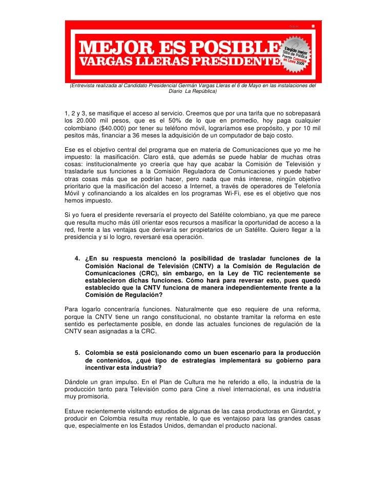 Elecciones2010 - VARGAS Propuesta TIC para Colombia Slide 2