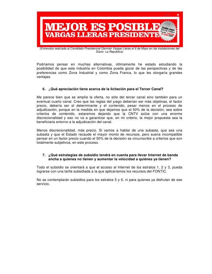 Elecciones2010 - VARGAS Propuesta TIC para Colombia Slide 3