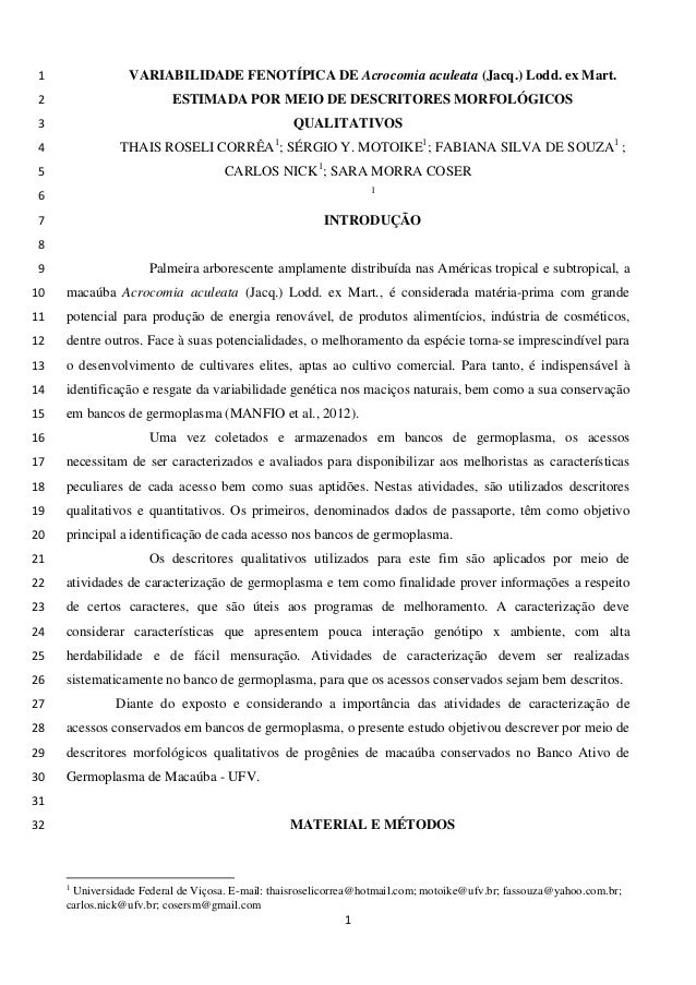 VARIABILIDADE FENOTÍPICA DE Acrocomia aculeata (Jacq.) Lodd. ex Mart. 1  ESTIMADA POR MEIO DE DESCRITORES MORFOLÓGICOS 2 Q...
