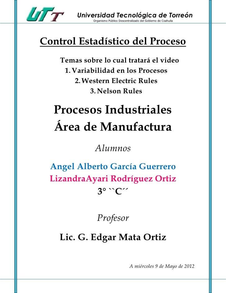 Universidad Tecnológica de Torreón              Organismo Público Descentralizado del Gobierno de CoahuilaControl Estadíst...