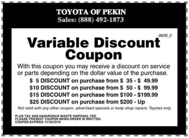 Variable Discount Coupon North Pekin IL