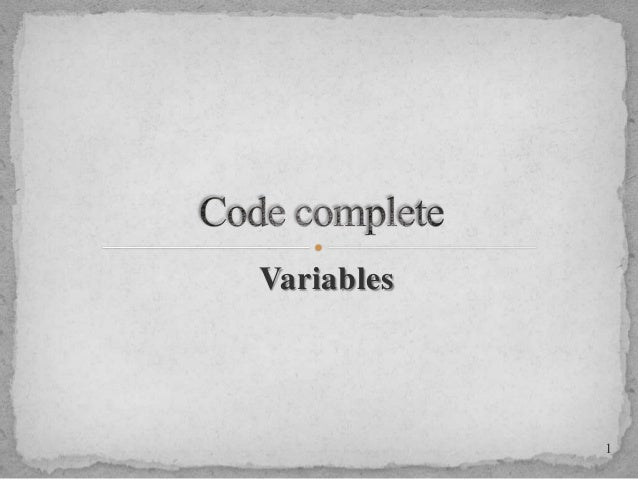 Variables  1