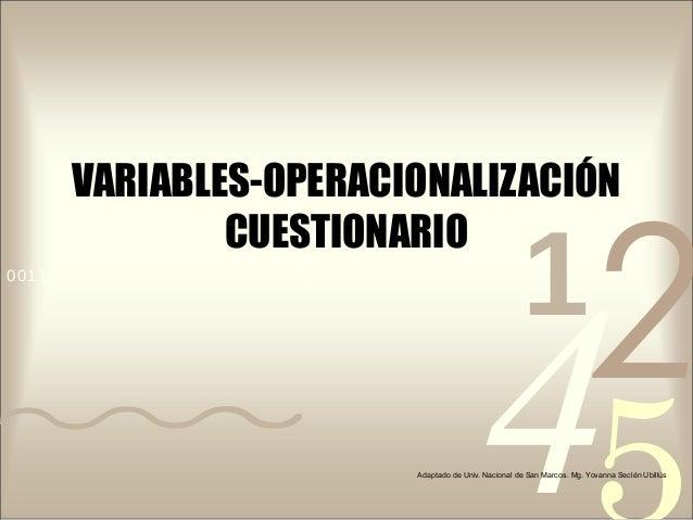 VARIABLES-OPERACIONALIZACIÓN  425  CUESTIONARIO  0011 0010 1010 1101 0001 0100 1011  1 Adaptado de Univ. Nacional de San M...