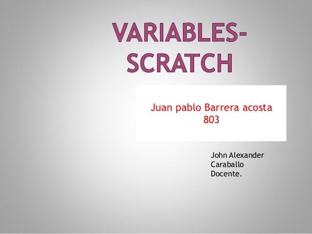 John Alexander Caraballo Docente. Juan pablo Barrera acosta 803