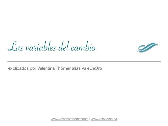 Las variables del cambio explicados por Valentina Thörner alias ValeDeOro www.valentinathorner.com | www.valedeoro.es