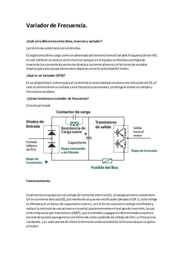 Variador de Frecuencia. ¿Cuál esla diferenciaentre drive,inversory variador? Los términosanterioressonsinónimos. El anglic...