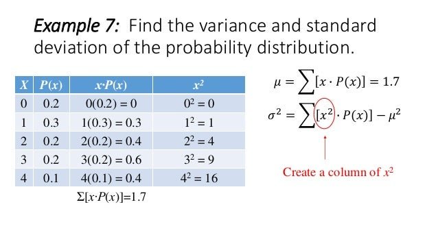 Variance and standard deviation of a discrete random variable 21 example 7 find the variance and standard deviation of the probability distribution ccuart Image collections