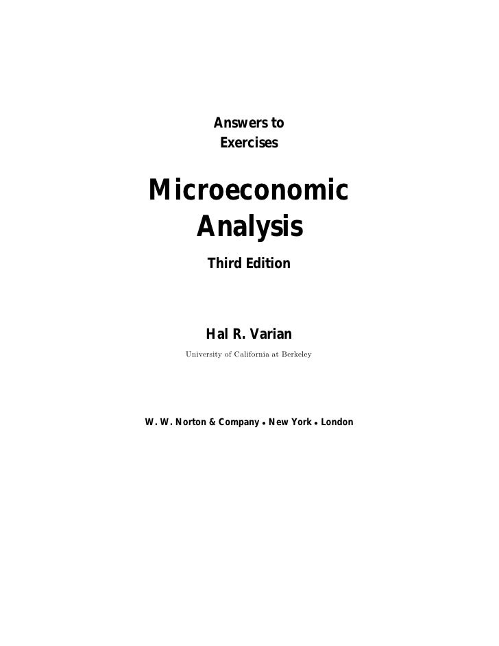 Solution Manual to Microeconomic Analysis, 3rd Edition